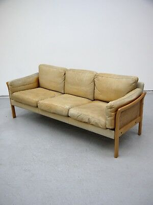 1960S Vintage Original Light Tan Danish Leather Three Seat Sofa Made In Denmark