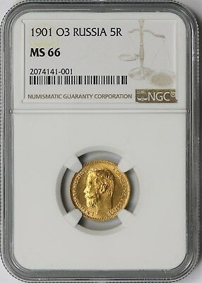 1901 O3 Russia Gold 5 Roubles 5R NGC MS 66