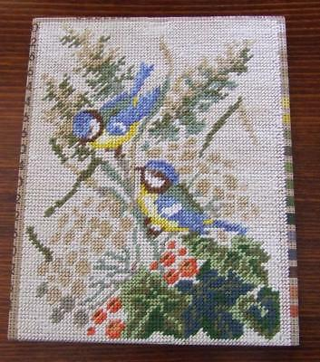Small Meisen Hand Embroidered Tapestry Panel - Yellow Breasted Bluebirds