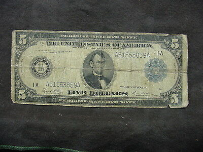 1914 $5 Five Dollar Large Bill Federal Reserve Note