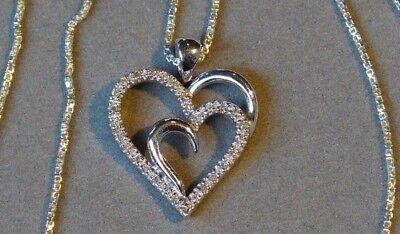 NATURAL DIAMOND OPEN HEART STERLING PENDANT NECKLACE - 29 DIA's - .60 carat TDW