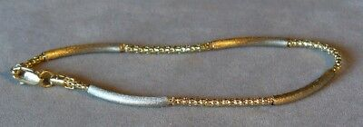 WHITE and YELLOW GOLD TWO TONE 9K TEXTURED ROPE BRACELET - 7 5/8 inches LONG W@W