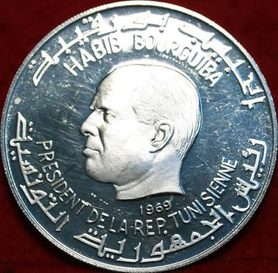 Uncirculated 1969 Tunisia 1 Dinar Proof Silver Foreign Coin Free S/H