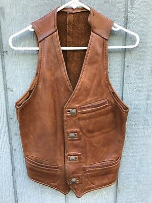 Vintage 1950's Buffalo Nickel Buttoned Western Cowboy Leather Vest Small