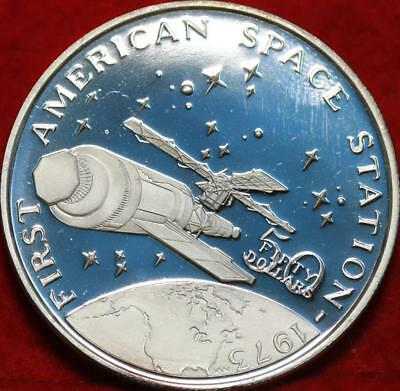 Uncirculated 1989 Marshall Islands American Space Station $50 Silver Free S/H