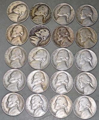 Jefferson Nickel Lot of 20 Eary Date Coins - 12 are S Mint