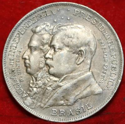 1922 Brazil 2 Mil Reis Foreign Coin Free S/H