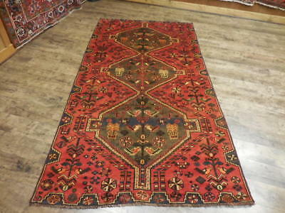 Ca 1930s VG DY ANTIQUE PERSIAN QASHQAI YALAMEH SERAPI 4.5x8.6 ESTATE SALE RUG