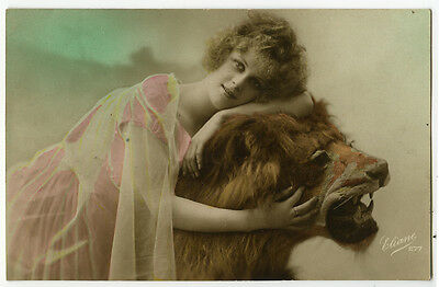 c 1922 Lovely lady FRENCH DECO BEAUTY with Stuffed LION tinted photo postcard