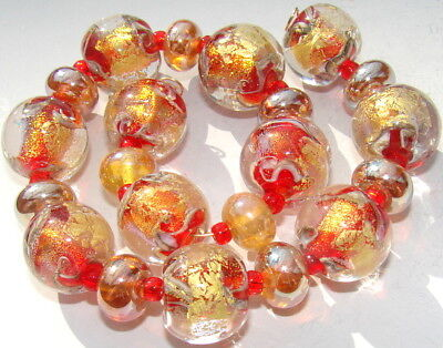 "Sistersbeads ""October FIre"" Handmade Lampwork Beads"