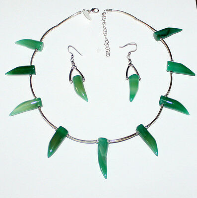 Green Jade Set of  Necklace & Earrings  Green Jade and Sterling Silver (.925)