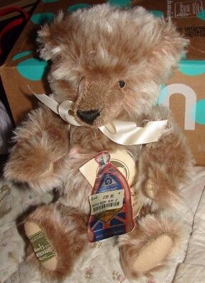 Harrods By Merrythought Mayfair Squeak Bear 12 Inches With Tags Mohair Bear