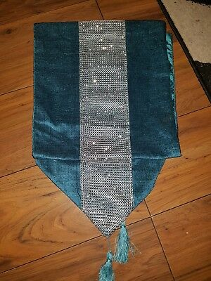 Set of two teal blue bling table runners