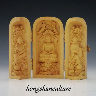 Decorated 100% Boxwood Highly Difficulty Carved Buddha Statue Folding Box