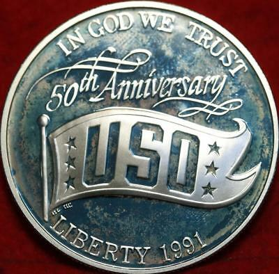 Uncirculated 1991-S USO Silver Proof Commemorative Dollar Free S/H
