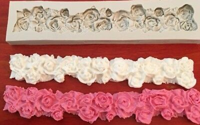 Piped Rose Border Mould Cake Fondant Gumpaste Silicone Mold Chocolate Clay DIY