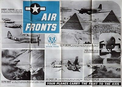 Original US Government World War II U.S. ARMY AIR FRONTS Poster, 1944