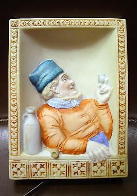"""Scarce Schafer & Vater Wall Plaque Peasant Man Drinking & Smoking 5""""X 3.75"""" Cute"""