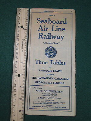 1926 SAL Seaboard Air Line Railway Public Timatable