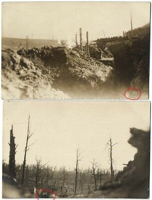German WWI Trench View 1st Line Two Photos