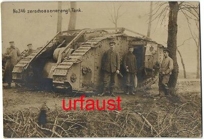 German WWI Soldiers with Destroyed British Tank Photo