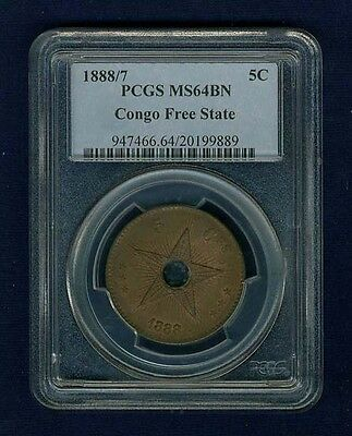 Congo Free State 1888/7  5 Centimes Coin Certified Choice Uncirculated Pcgs Ms64