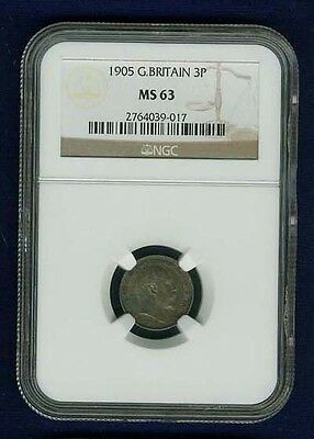 Great Britain Edward Vii  1905  Threepence Coin Uncirculated Certified Ngc Ms63