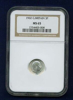 Great Britain Edward Vii 1902 Threepence Coin Uncirculated, Certified Ngc Ms65