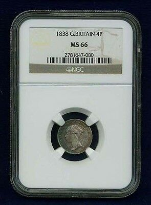 England Victoria 1838 4 Pence/groat Silver Coin Uncirculated, Ngc Certified Ms66