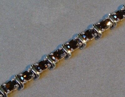 """HEAVY SMOKY QUARTZ STERLING SILVER """"S"""" LINK BRACELET NEW OLD STOCK from THAILAND"""