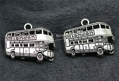4pcs Antique Silver Beautiful Bus Charms Pendant Craft Jewelry 25x21mm H