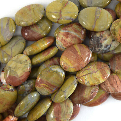"""18mm multicolor picasso jasper flat oval beads 15.5"""" strand S1"""