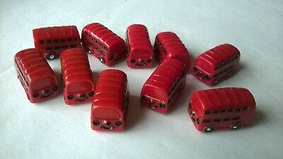 Buses x 10 small resin red DOLLS HOUSE MINIATURES CRAFTS (F5054)