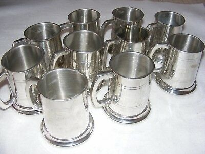 Collection X 10 Polished Pewter Half Pint Tankards Hartley Wintney Golf Club