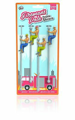 Fireman Drinking Buddies on a Pole Drink Stirrers Markers NPW