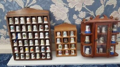 Collection of 66 Thimbles with Display Cases