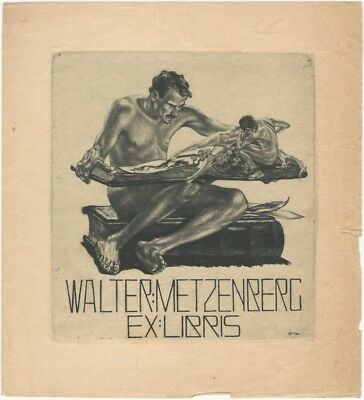 Large 1910 Alois Kolb Bookplate for Walter Metzenberg
