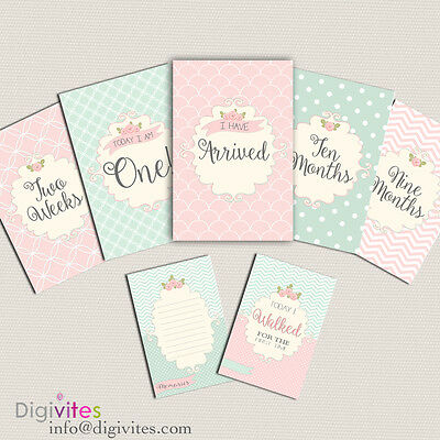 Baby Milestone Cards, Baby Moments and Milestones, Baby Shower, Shabby chic