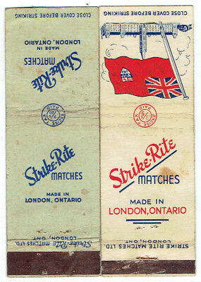 2 Different Strike Rite Matches Matchbook Covers - London Ontario
