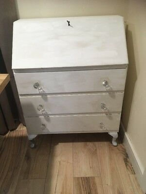 Shabby Chic Bureau Queen Anne Legs Crystals Knobs Lockable Pull Down Desk Key 🔑