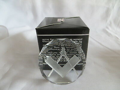 Masonic Westminster Crystal Boxed Glass Paperweight