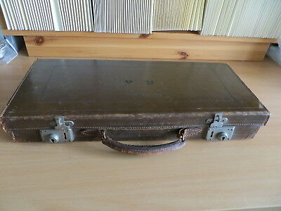 Vintage Masonic Brown Leather Regalia Case - Faded Inits Bw To Lid