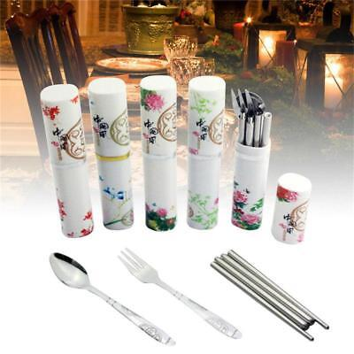 3PCS Fork Chopsticks Boxed Spoon Carry Case Picnic Outdoor Sets Stainless LC