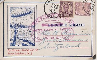 USA 1928 Zeppelin Card carried on return leg of first intercontinental flight