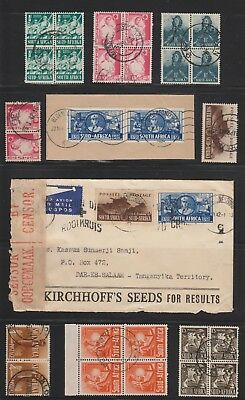 South Africa 1942 War Effort stamps on Cover opened by Censor + blocks & pairs