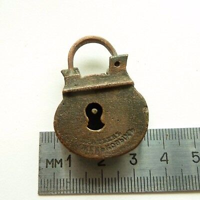 Old Vintage Antique Collectible Solid Bronze  Padlock Lock (a781) .