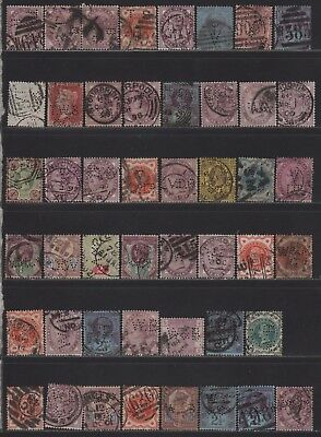 Great Britain QV Perfin Collection of All Different Designs