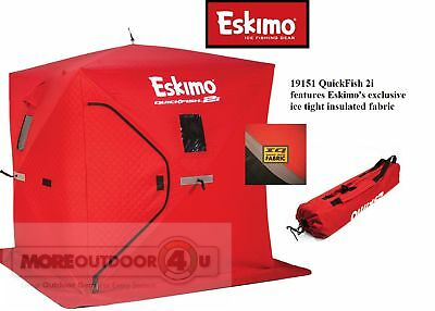 19151 INSULATED Eskimo Pop Up Portable QuickFish 2 Ice Shelter 2 Man USED Model