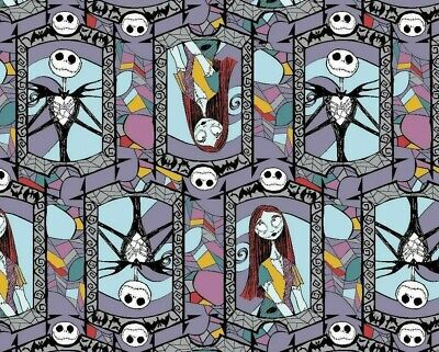 Nightmare Before Christmas Fabric Sally and Jack Stained Glass Fabric by The Yard