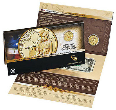 2014 Native American  $1 Coin And Currency Set